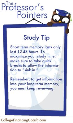 Study Tip--Commit learning material to your long term memory to maximize study time