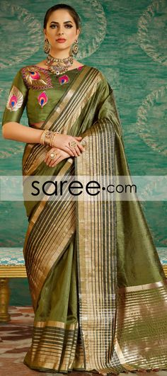 Green Art Silk Saree With Zari