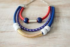 Red blue white tribal statement colorful necklace by stavroula, $39.00