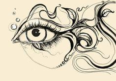 Eye Fish Doodle Art Print by Olechka