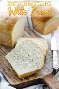 Two Hour Easy Homemade White Bread Recipe - Make a simple delicious loaf of white bread right from your own kitchen that comes together in under two hours. Bread Proofer, Bread Recipes, Baking Recipes, Homemade White Bread, Homemade Breads, Homemade Food, Bread Dough Recipe, Cooking Bread, Gluten