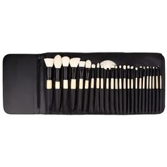 Elite Brush Set Black (€60) ❤ liked on Polyvore featuring beauty products, makeup, makeup tools, makeup brushes, fillers, beauty, cosmetics, black, detail and embellishment