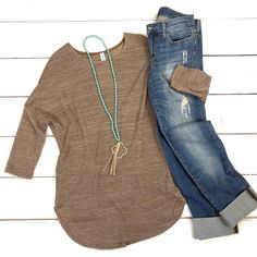 The mocha sweater looks wonderful but not a fan of the distressed jeans. Go casual with in mocha, a pair of and a Great look! Fashion Mode, Look Fashion, Winter Fashion, Womens Fashion, Fashion Trends, Blue Fashion, Fashion Inspiration, Mode Outfits, Casual Outfits