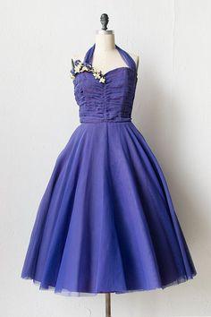 vintage 1950s purple tulle prom dress