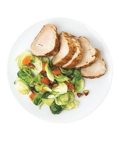Roasted Pork With Brussels Sprouts and Apricots | Think you don't like Brussels sprouts? These tempting recipes for sides and mains will change your mind.