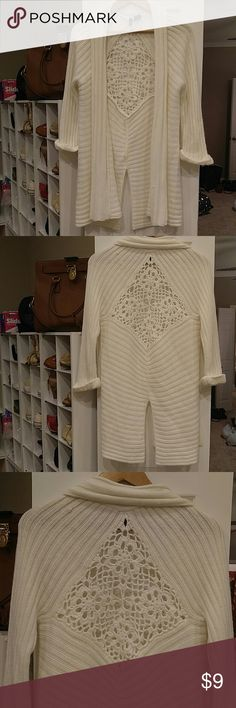 NEW DIRECTIONS OFF WHITE CARDIGAN CROTCHET BACK S Beautiful open Cardigan with crochet open pattern on back then below in the back cardigan opens.  Gorgeous as a cover-up on chilly nights.  Size S can fit M. new directions Sweaters Cardigans