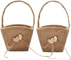 ATAILOVE 2PCS Burlap Wedding Flower Girl Basket Double Love Heart and Bowknot for Vintage Rustic Wedding