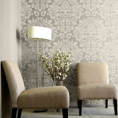 Paint wall a metallic silver and do pattern in flat beige or cream.  - Large Wall Stencil | Fabric Damask Stencil | Royal Design Studio