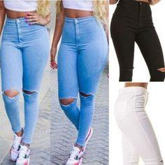 Femme Jeans Skinny Déchiré Pantalon Taille Haute Extensible Fin Crayon