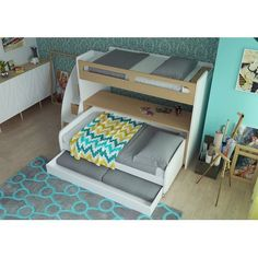 Brayden Studio Gautreau Twin Bunk Bed over Full XL Sofa Bed, Table and Trundle Bunk Bed Sets, Bunk Bed With Trundle, Full Bunk Beds, Bunk Beds With Stairs, Twin Futon, Futon Bunk Bed, Twin Xl Bedding, Pink Comforter, Teen Bedding