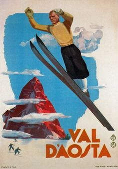 Affiche Prints TV43 Vintage 1935 Val DAosta Italy Italian Ski Skiing Travel Poster Re-Print Reproduction Print Card A high quality reproduction of this beautiful vintage poster All our prints are professionally andamp