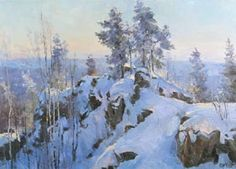Alexey Efremov - Winter at the Azov hill; oil painting: oil on canvas Painting Snow, Winter Painting, Oil Painting On Canvas, Nature Paintings, Landscape Paintings, Oil Paintings, Canvas Online, Winter Scenery, Traditional Paintings