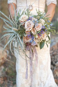 roses and air plant bouquet, click to see the recipe.