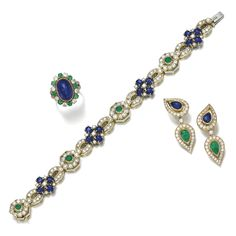 Sapphire, emerald and diamond bracelet, Harry Winston, and a ring and a pair of ear clips | lot | Sotheby's