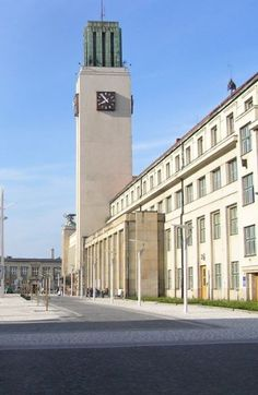 Functionalistic building of the railway station in Hradec Králové, Czechia