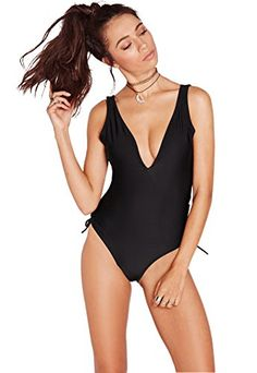 Women's One-Piece Swimsuits - Womens One Piece Sexy Plunge Neck Strappy Swimsuit Swimwear Monokini * Read more at the image link.