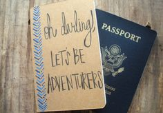 Travel Pocket Journal Oh Darling Let's Be Adventurers I Handwritten Calligraphy Monaco Blue Moleskin I Custom Notebook I Going Away Gift. by degnodinota, via Etsy.