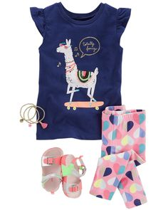 This flutter-sleeve llama tee sits pretty over heart printed leggings. Pair with buckle sandals and charm bracelets for added style. Little Girl Outfits, Cute Girl Outfits, Little Girl Fashion, Toddler Girl Outfits, Kids Outfits, Junior Outfits, Toddler Boy Fashion, Toddler Girl Style, Kids Fashion