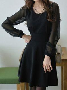O-Neck Long Sleeved Translucent Elegant Dress - PREPPY BEE