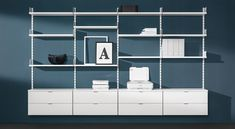Office Shelving ON-WALL - for your home + office storage ✓ Versatile, robust ✓ Quick delivery ✓ Plan + buy here at best prices! Small Shelving Unit, Wall Shelving Systems, Wall Shelf Unit, Wall Mounted Shelves, Living Room Shelves, Wall Bookshelves, Living Room Storage, Office Shelving, Home Office Storage