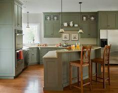 kitchen corner sink design ideas green cabinets wood flooring