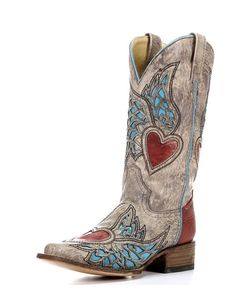 In ❤️❤️❤️❤️❤️ with these Corral Boots Corral Womens Sand/Red Turquoise Side Wing & Heart Square Toe Boot - Cowgirl Style, Cowgirl Boots, Western Wear, Western Boots, Country Boots, Corral Boots, Red Turquoise, Turquoise Accents, Square Toe Boots