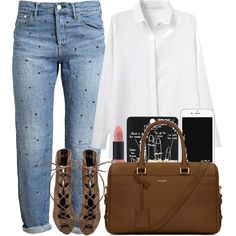 Untitled #1185 by alexadmendoza on Polyvore featuring Tu Es Mon Trésor, Schutz, Yves Saint Laurent and Topshop