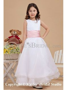 Tulle Jewel Neckline Ankle-Length A-line Flower Girl Dress with Ruffle
