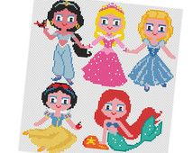 PRINCESSES  Parody Cross stitch Pattern PDF - Jasmine, Aurora, Cinderella, Snow White, Ariel princess Baby Kids Gift Instant Download