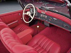 Interieur Mercedes-Benz 190 SL in wunderschönem, rotem Leder.
