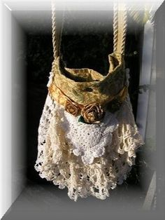 pretty purse with old doilies and ribbon