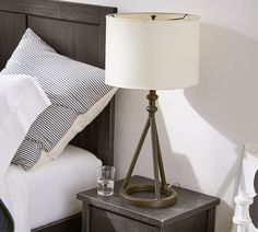 Orson Table Lamp Base Bronze At Pottery Barn - Lighting - Table & Task Lamps - Table & Bedside Lamps Table Lamp Base, Table Lamp, Lamp Bases, Dining Room Lamps, Metal Table Lamps, Tripod Lamp, Pottery Barn Lighting, Task Lamps, Dining Room Window Treatments