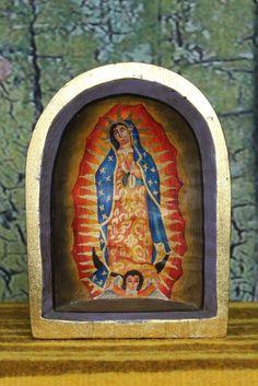 Hand Painted Retablo Mexican Folk Art Niche Virgin of Guadalupe Nuestra Señora