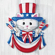 Uncle Sam Top Hat Cat Patriotic Pride Americana 4th of July USA Decor Metal Wreath Wall Decoration * Click on the image for additional details.