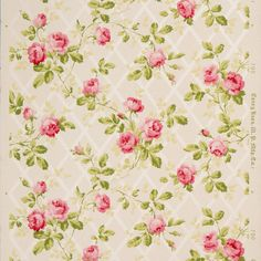 Rose Vines on Diamond Mica Lattice - Antique Wallpaper Remnant (American) Shabby Chic Wallpaper, Antique Wallpaper, Victorian Wallpaper, Original Wallpaper, Flower Wallpaper, Pattern Wallpaper, Vintage Floral Backgrounds, Chintz Fabric, Rose Vines