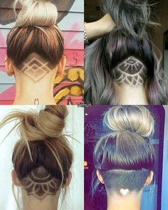 Awesome under cut design ideas - New Hair Design Undercut Hairstyles Women, Undercut Long Hair, Pretty Hairstyles, Bob With Undercut, Under Hair Shaved, Hair Tattoo Designs, Undercut Hair Designs, Shaved Hair Designs, Hair Tattoos