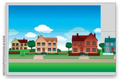 cartoon houses in a row - Google Search