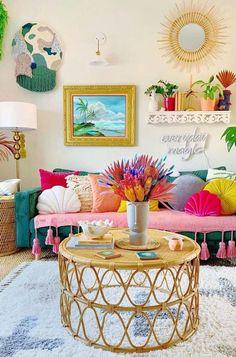 Colourful Living Room, Boho Living Room, Boho Room, Bohemian Living, Funky Living Rooms, Living Room Decor Eclectic, Colorful Rooms, Living Room Decor Colors, Cozy Living