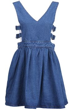 Zippered Belted Blue Strap Dress. Description Blue denim strap dress, featuring twin shoulder straps, V-neck, belted sides, rear zipper, high waist, solid color.  Fabric Deinm. Washing 40 degree machine wash, turn inside out before cleaning, wash with similar colours, iron on reverse side, colour may transfer onto other garments and upholstery. #Romwe