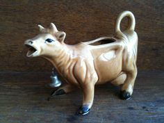 Vintage Brown Creamer Cow with Bell by EnglishShop on Etsy, $49.00
