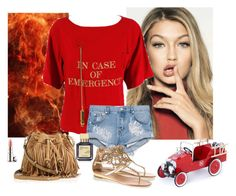 """In Case of Emergency"" by katiethomas-2 ❤ liked on Polyvore featuring Moschino, One Teaspoon, Maison Francis Kurkdjian, Rebecca Minkoff, René Caovilla, By Terry and Baghera"