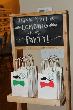 """Little Man Birthday Party Favors- Thank you for """"combing"""" to my party!"""