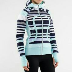 Lululemon Striped Scuba Hoodie Scuba hoodie featuring pale mint green, navy, lilac, and white stripes. Like new in excellent condition. lululemon athletica Tops Sweatshirts & Hoodies