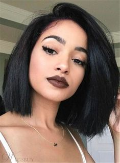 Fascinating Neat Smooth Shoulder-length Natural Human Hair Lace Front African American Wigs #AwesomeWigs