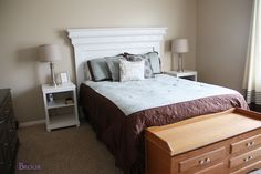 Are you looking for creative {and cheap} DIY headboard ideas? We have a list of DIY headboard with lights, storage, shelves, and so much more! See what you can use to DIY your very own headboard! Mantle Headboard, Cheap Diy Headboard, Headboard With Lights, How To Make Headboard, Headboard Ideas, Bedroom Ideas, Cheap Nightstand, Plywood Headboard, Bedroom Inspiration