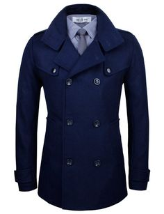 Tom's Ware Mens Stylish Fashion Classic Wool Double Breasted Pea Coat TWCC06-NAVY-US L