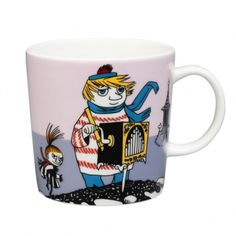 """This new violet Moomin mug by Arabia features Too-ticky. It's beautifully illustrated by Arabia artist Tove Slotte and the illustrations can be seen in the original book """"Moominland Midwinter"""" by Tove Jansson. Moomin Books, Moomin Mugs, Scandinavian Living, Scandinavian Design, Branded Mugs, Tove Jansson, Porcelain Mugs, Marimekko, Mug Designs"""
