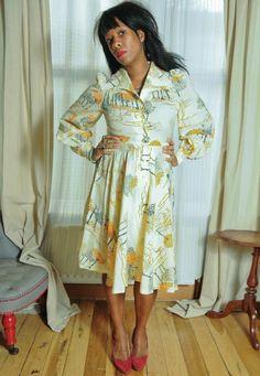 ♥STUNNING BOHO CHIC Vintage 60s Arty TREES Dot Dagger Collar Midi dress