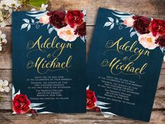 Navy blue marsala Wedding Invitation printable - wedding invitation set, elegant wedding invitation   This invitation can come at any color you want, please check the color chart to get an idea, or if you have the number of the color or images, feel free to message me and attach them.   Printable Invitation: To print at home, locally or from a website and/or to send it by email to upload it to your website (such as blog, facebook, and others) or as an announcement, and many more.  Matching…