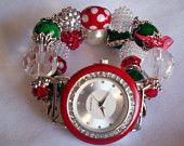 Christmas Beaded Watch Band and Face - Interchangeable